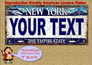 Personalised Birthday Gift, Novelty  Number Plates New York Licence Plate