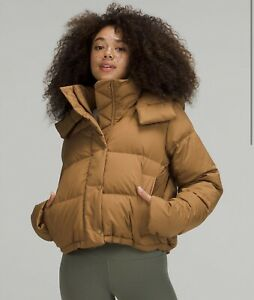 LULULEMON Wunder Puff Cropped Jacket Puffer ~ 600 DOWN Sz 8 Bold Beige SOLD OUT!