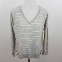 ann taylor loft sweater striped sheer gray M top shirt womens hi low asymmetric