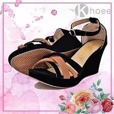 Khoee Kaith Fashionable Ankle Strap Wedge Sandals (Black)