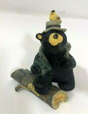 Bearfoots Bear Bird Watcher Signed Artist Jeff Fleming Black Bear Figurine Decor