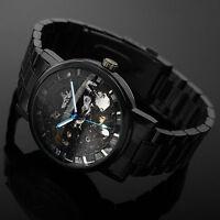 Mode Schwarz Skeleton Mechanisch Herrenuhr Automatik-Edelstahl Armband Uhr POP.