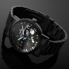 Mode Schwarz Skeleton Mechanisch Herrenuhr Automatik Edelstahl Armband Uh bbbg`