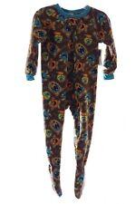 Boys Brown Teal Monster Warm Fleece Zip Up Footed Pajamas PJs Sleepwear 4 NEW