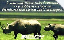 G 1412 C&C 3533 SCHEDA TELEFONICA USATA ANIMALI CHE LASCIANO RINOCERONTE BIANCO