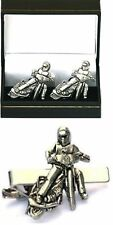 Speedway Grasstrack Cufflinks & Tie Clip Bar Tack Slide Set Mens Rider Bike Gift