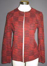 M MING WANG Coffee Brown Brick Red Acrylic Blend Knit Jacket NWT $295