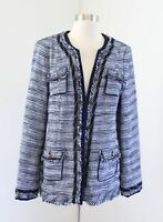White House Black Market Blue Tweed Fringe Chain Longline Blazer Jacket Size 10