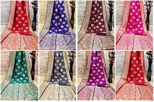 Indian Banarasi Silk Saree Wedding Party Red Blue Green Stylish Saree Blouse