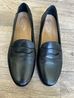 Clarks Loafers Unstructured Black Uk 6 E Wide Fot