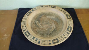 Hand Carved Wooden German Bread Plate 11 10/16 Round Signed on Bottom