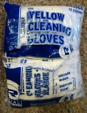 NEW Royal Flocked Lined Cleaning Gloves 12 Pair - Yellow - Size: XLarge XL