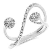 Cocktail Negative Space Right Hand Ring Wide 14K White Gold Pave Round Diamond