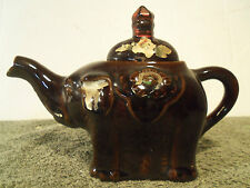 Vintage Red Clay Brown Elephant Teapot Japan Hand Painted