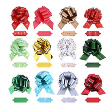 VEYLIN 12 Pieces Christmas Pull Bows Large Gift Bows Ribbon for Xmas Present