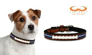 Denver Broncos Classic Stitched Leather Small (S) Football Dog Pet Collar