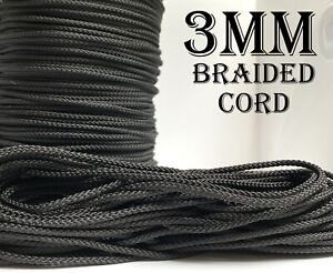 Black 3mm Strong Braided Drawstring Cord Crochet Tying Trimmings Craft