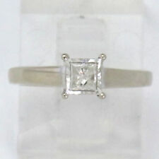 14k White Gold Princess Diamond Solitaire Engagement Ring .25ct