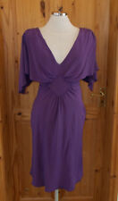 WAREHOUSE purple PURE SILK midi knee long batwing short sleeve party dress 10 38