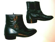 MENS WESTERN STYLE BLACK ANKLE BOOTS 9.5 M LEATHER ZIP UP BEATLE SANDRO MOSCOLON