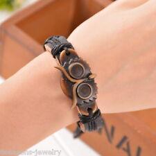 8Sj New Men Punk Vintage Leather Handmade Owl Black Bracelet Chains Adjustable