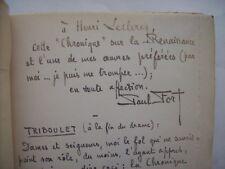 Paul Fort envoi autographe dédicace 1926 littérature française théâtre manuscrit