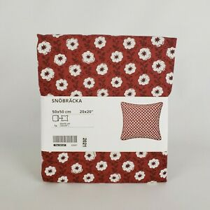 """Ikea Snobracka Pillow Cushion Cover 20"""" x 20"""" Red White Floral New"""