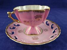 Opalescent Pink Square Pedestal Tea Cup and Lace Cut Saucer