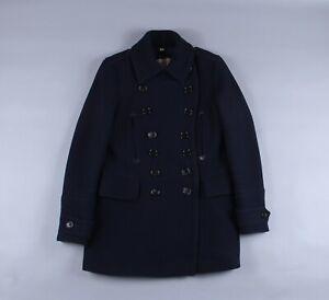Women's Burberry London Wool Navy Trench Coat Overcoat Vintage Size UK 14