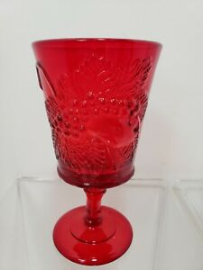 L.G. Wright Ruby Red Glass Strawberry and Currant Wine Goblet