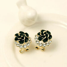 Fashion Women Lady Flower Rose Crystal Rhinestone Stud Earring Elegant Jewelry
