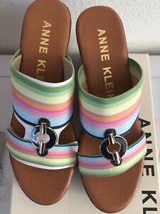 Anne Klein Womens Hadya  Wedge Sandals Shoes Sz 7.5 Medium Color Rainbow NWB.