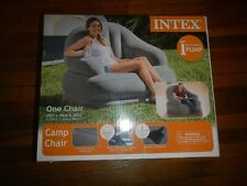 Intex INFLATABLE CAMP CHAIR Gray Outdoors Cup Holder Durable NEW SEALED In Box