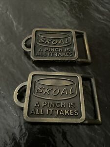TWO (2) VINTAGE 70s **SKOAL A PINCH IS ALL IT TAKES** TOBACCO BRASSTONE BUCKLES