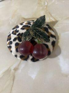Leopard Print Cherry Fascinator Burlesque Rockabilly Pin Up