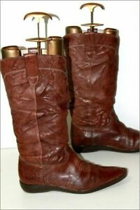 KICKERS Mid Boots Very Pointed Brown Crumpled Leather Lined Leather T 40 TBE