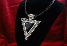 BLACK TRIANGLE RHINESTONE, LEATHER PENDANT NECKLACE