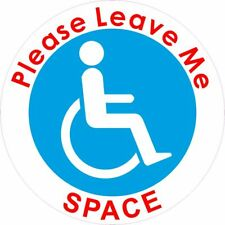 Static Cling please leave me space Disabled Blue Mobility Badge car bus sticker