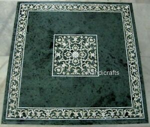 30 Inches Green Marble Inlay Coffee Table Top with MOP Work Kitchen table top