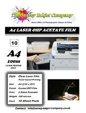 A4 Clear Laser & Copier Transparency OHP Acetate Film 100 micron 10 Sheets