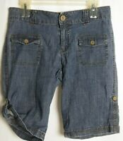 Cherokee Button Fly Jean Shorts Blue Womens Size XL