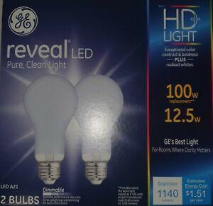 GE 46657 12.5-Watt Reveal LED Dimmable A21 HD+ Light Bulbs Qty 12