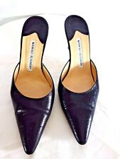 MANOLO BLAHNIK BLK LEATHER POINTED-TOE MULE HEEL SIZE 7 1/2