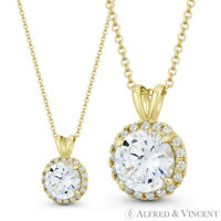 Round Brilliant Cut Clear CZ Crystal 12mmx8mm Fashion Pendant in 14k Yellow Gold