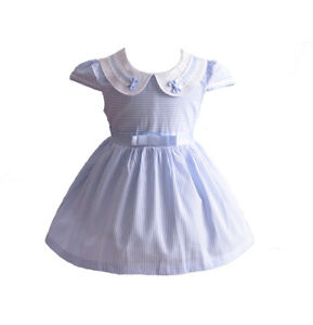 New Girls Striped Party Dress in Blue Pink 6-9 9-12 12-18 18-24 3 4 5 6 7 Years