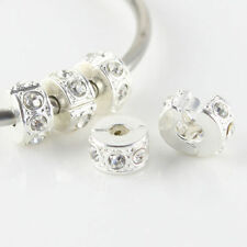 5 Pieces Clear Czech Crystal Silver European Charm Beads Locks Clips Stoppers