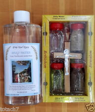 Holy water bottle Jordan river Israel 250 ml and 4 elements set olive wood cross