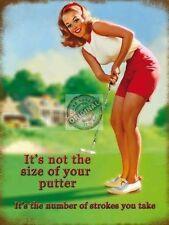 Putter Size, Funny Golf Joke Club, Vintage Pin Up Girl, Medium Metal/Tin Sign