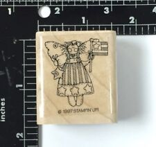 Fairy Holding American Flag Country Charm Vtg 1997 Stampin Up Rubber Stamp #47