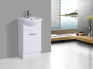 Nano Compact Mini Powder Room White Semi-Recess Vanity Unit 450x390x850mm
